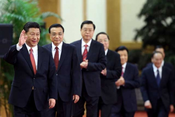 L to R: Members of the Politburo Standing Committee Xi Jinping, Li Keqiang, Zhang Dejiang, Yu Zhengsheng, Liu Yunshan, Wang Qishan and Zhang Gaoli in Beijing on Nov. 15, 2012, the day China's ruling Communist Party revealed the new Politburo Standing Committee. (Feng Li/Getty Images)