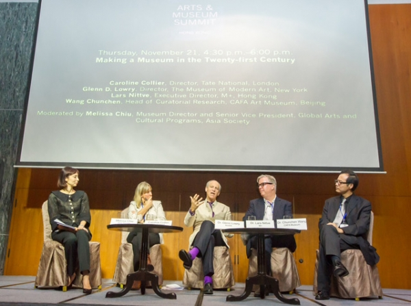 "From left: Melissa Chiu, Caroline Collier, Glenn D. Lowry, Lars Nittve, and Wang Chunchen discuss ""Making a Museum in the 21st Century"" during the Arts & Museum Summit at Asia Society in Hong Kong on Thursday, November 21, 2013. (Nick Mak/Asia Society)"