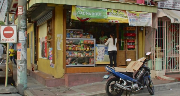 Outside a sari-sari convenience store in the Philippines.
