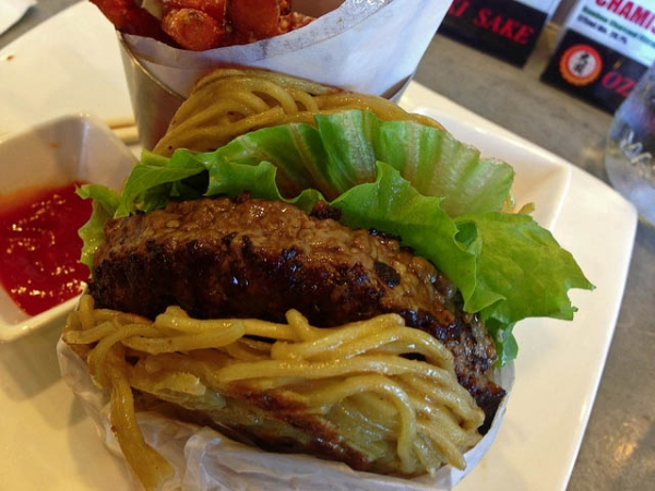 A ramen burger. (mmyoso/Flickr)