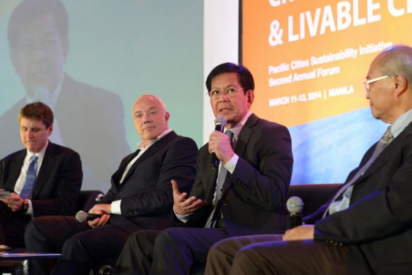 L to R: Asia Society Executive Vice President Tom Nagorski, Sir Robert Parker, Secretary Panfilo Lacson, and Dr. Kuntoro Mangkusubroto at the second annual PCSI Forum in Manila on March 11, 2014. (Asia Society)