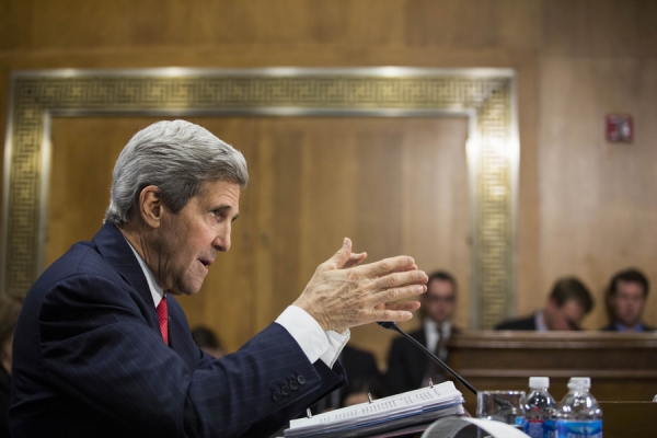 U.S. Secretary of State John Kerry testifies during a Senate Foreign Relations Committee hearing concerning the 2015 international affairs budget on Capitol Hill April 8, 2014 in Washington, DC. Kerry discussed a wide range of topics, including the conflict in Syria, relations with Iran, and also discussed the possibility of additional economic sanctions on Russia. (Drew Angerer/Getty Images)