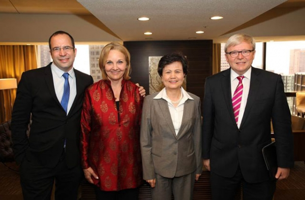 L to R: College Board President David Coleman, Asia Society President Josette Sheeran, Director-General of Hanban Xu Lin, and former Australian Prime Minister Kevin Rudd at the start of Asia Society's 2014 National Chinese Language Conference on May 8, 2014.