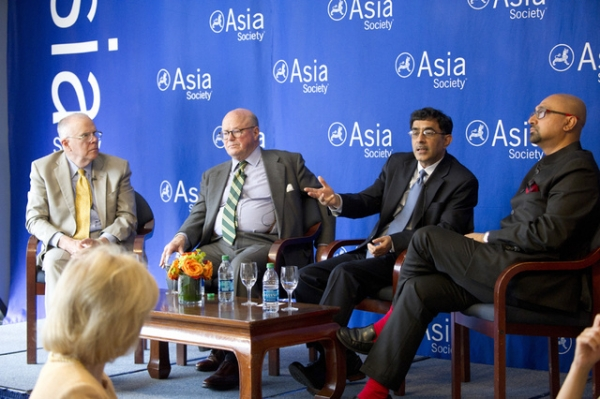L to R: Marshall Bouton, Frank Wisner, Devesh Kapur, and Bobby Ghosh discuss Narendra Modi's electorial win and what it means for India at Asia Society New York. (Elena Olivo/Asia Society)