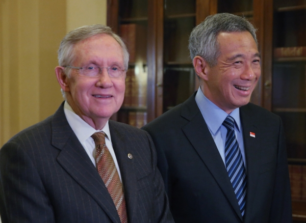 Senate Majority Leader Harry Reid (D-NV) (L) meets with Prime Minister Lee Hsien Loong of Singapore, on Capitol Hill, June 23, 2014 in Washington, DC. Prime Minister Lee Loong is on a six-day working visit to Washington. (Mark Wilson/Getty Images)