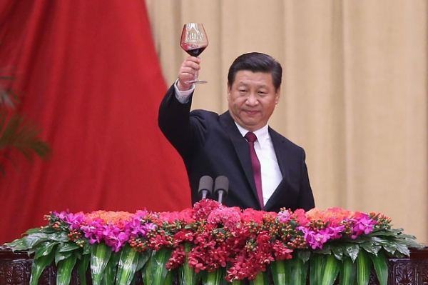 Chinese President Xi Jinping gives a toast during the National Day reception marking the 65th anniversary of the founding of the PRC at the Great Hall Of The People in Beijing on Sept. 30, 2014. (Feng Li/Getty Images)
