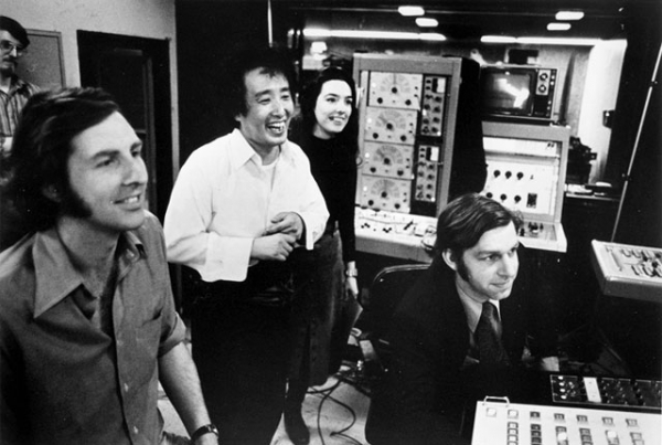 L to R: David Loxton, Nam June Paik, Charlotte Moorman, and John Godfrey at the TV Lab studio in New York City. (Courtesy Howard Weinberg)