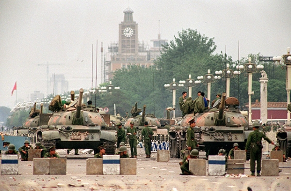 People's Liberation Army tanks stand guard on Chang'an Avenue in Beijing on June 6, 1989, two days after soldiers opened fire on civilians. (Manuel Ceneta/AFP/Getty)