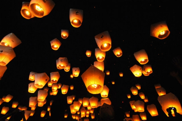 People release sky lanterns in Pinghsi, a township in Taiwan's northern Taipei County, to celebrate the annual Lantern Festival on Feb. 28, 2010. (Patrick Lin/AFP/Getty Images)