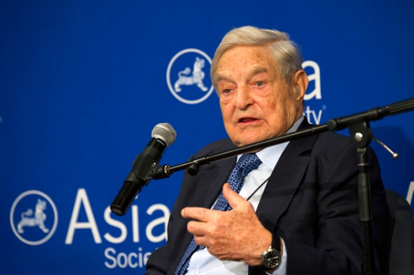 Billionaire philanthropist George Soros, chairman of the Open Society Foundations, speaking at Asia Society in New York on Thursday, April 20, 2015. (Elena Olivo/Asia Society)