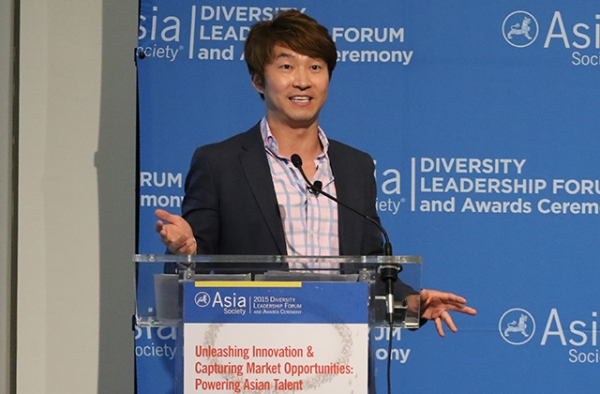 Pirq CEO and diversity and entreprenuership expert James Sun speaks at Asia Society's Diversity Leadership Forum. (Ellen Wallop/Asia Society)