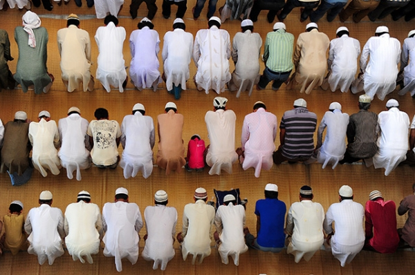 Indian Muslim devotees offer Friday prayers at the Vasi Ullah mosque on the first Friday of Ramadan in Allahabad on June 19, 2015. (Sanjay Kanojia/AFP/Getty Images)