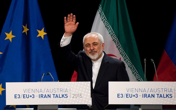 Iranian Foreign Minister Mohammad Javad Zarif leaves a final press conference of Iran nuclear talks in Vienna, Austria on July 14, 2015. (Samuel Kubani/AFP/Getty Images)