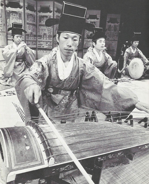Four members of the Korean Aak troupe from the National Classical Music Institute in 1979. (Asia Society)
