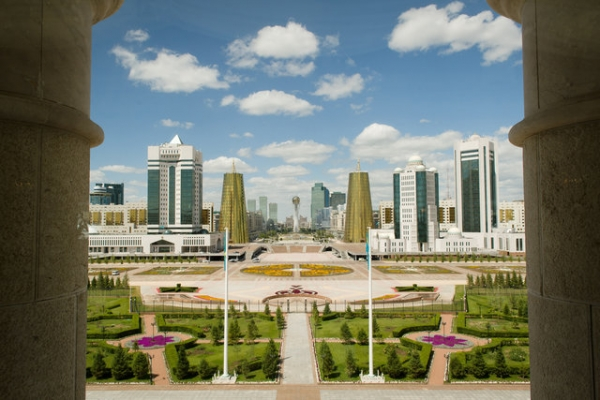 The view from the Presidential Palace in Astana, Kazakhstan. (Leon Neal/AFP/Getty Images)