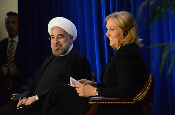 Iranian President Hassan Rouhani speaks with Asia Society President Josette Sheeran in New York on September 26, 2013. (Kenji Takigami/Asia Society)