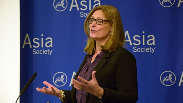 Sarah Brown delivers opening remarks at 'Educating for Citizenship in a Global World' on Tuesday, September 29, 2015. (Elsa M. Ruiz/Asia Society)