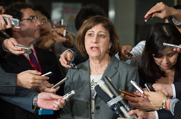 Acting Deputy U.S. Trade Representative Wendy Cutler briefs the international media at Japan's Ministry of Foreign Affairs. (State Department)