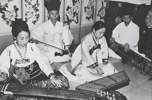 "Korean musicians perform as part of Asia Society's 1971 Performing Arts program ""P'ansori."" (Asia Society)"