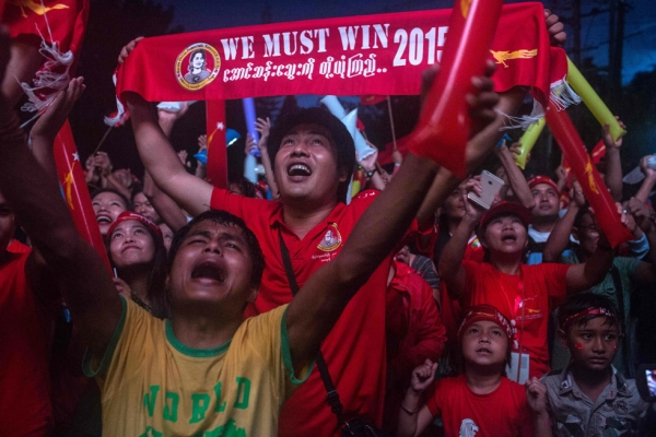 Residents of Yangon, Myanmar celebrate the results of the country's democratic elections on Sunday, November 8. (Lauren DeCicca/Getty Images)