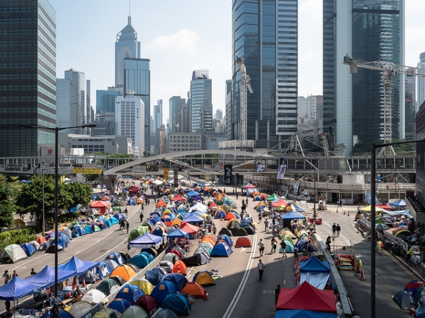 Protest site in Hong Kong on October 18, 2014. (Pasu Au Yang/ Flickr)