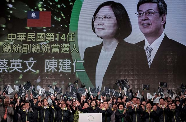 Democratic Progressive Party (DPP) presidential candidate Tsai Ing-wen (C) celebrates her victory in Taipei on January 16, 2016. (Philippe Lopez/Getty Images)