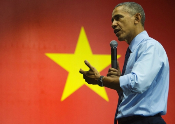 President Barack Obama speaks at the Young Southeast Asian Leaders Initiative town hall event in Ho Chi Minh City on May 25, 2016. (Jim Watson/AFP/Getty Images)