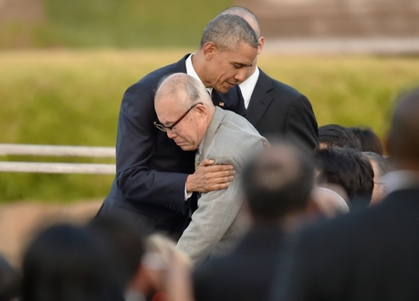 U.S. President Barack Obama embraces atomic bomb survivor Shigeaki Mori during his visit to the Hiroshima Peace Memorial Park on May 27, 2016 in Hiroshima, Japan. (Atsushi Tomura/Getty Images)