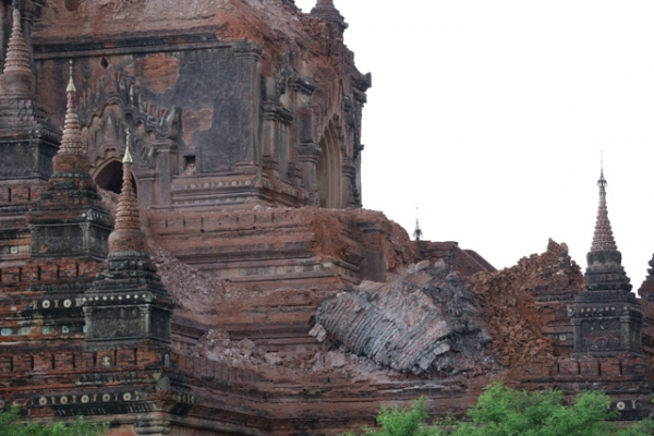 Collapsed walls surround an ancient pagoda after a 6.8 magnitude earthquake hit Bagan on August 24, 2016. (Soe Moe Ang/AFP/Getty Images)