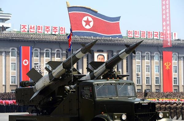Missiles are displayed during a military parade to mark 100 years since the birth of the country's founder Kim Il-Sung in Pyongyang on April 15, 2012. (Pedro Ugarte/AFP/Getty Images)