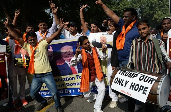 Right-wing activists of India's Hindu Sena celebrate Donald Trump's victory in the U.S. presidential elections in New Delhi on November 9, 2016. (Prakash Singh/AFP/Getty Images)