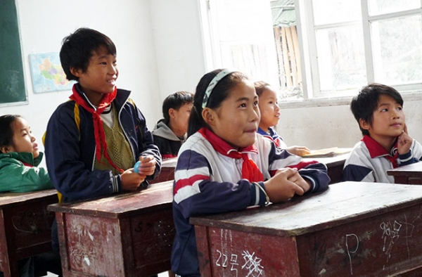 Students in Guizhou, China. (Thomas Galvez/Flickr)