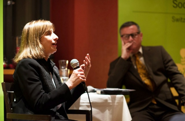 Wendy Cutler and Patrick Ziltener speaking at Asia Society Switzerland on December 6, 2016. (Niklas Stauffer)