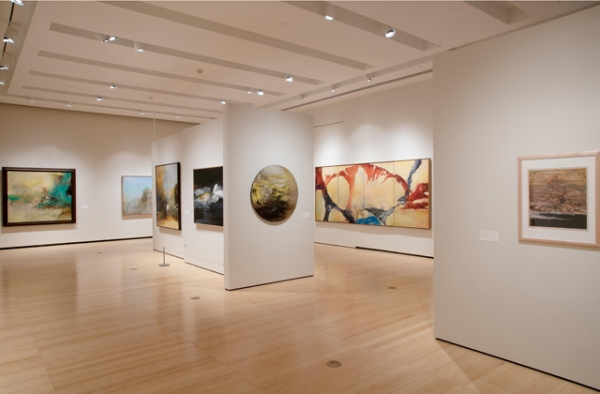 "Installation view of ""No Limits: Zao Wou-Ki,"" co-organized by Asia Society and Colby College Museum of Art, on view at Asia Society Museum, New York, from September 9, 2016, through January 8, 2017. (Richard Goodbody)"