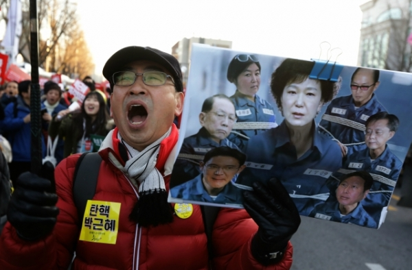 Protesters gathered and occupy major streets in the city center for a rally against South Korean President Park Geun-Hye on December 10, 2016 in Seoul, South Korea. (Chung Sung-Jun/AFP/Getty Images)
