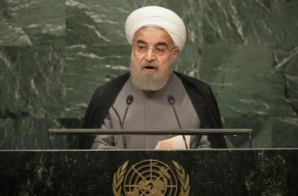 President of Iran Hassan Rouhani addresses the United Nations General Assembly at UN headquarters, September 22, 2016 in New York City. (Drew Angerer/Getty Images)