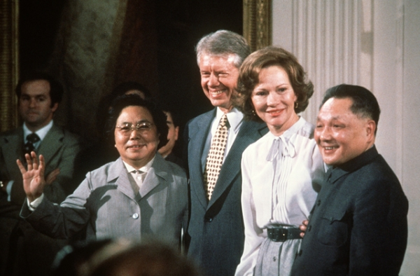 Chinese leader Deng Xiaoping and his wife visit with U.S. President Jimmy Carter and his wife Rosalynn in Washington, D.C. on January 31, 1979. (AFP/Getty Images)