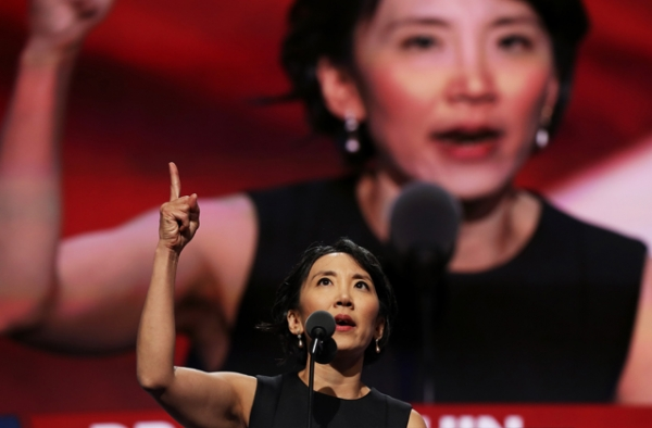 New Mexico delegate Dr. Lisa Shin gestures as she delivers a speech on the fourth day of the Republican National Convention on July 21, 2016 at the Quicken Loans Arena in Cleveland, Ohio. (John Moore/Getty Images)