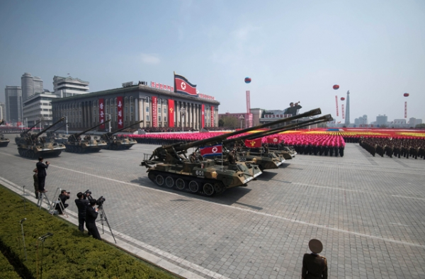 Korean People's Army (KPA) tanks are displayed on Kim Il-Sung square during a military parade marking the 105th anniversary of the birth of late North Korean leader Kim Il-Sung in Pyongyang on April 15, 2017. (Ed Jones/AFP/Getty Images)