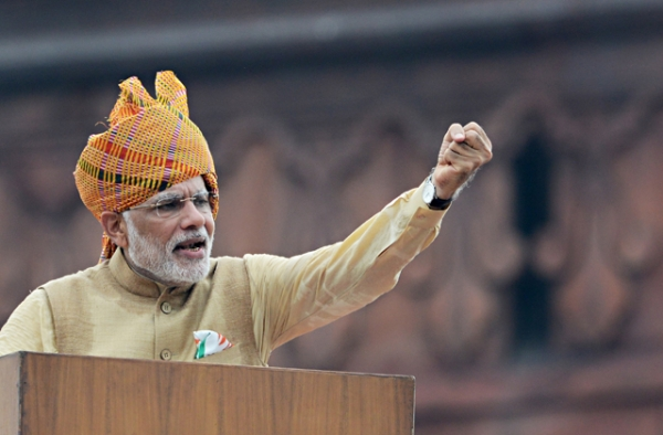 Indian Prime Minister Narendra Modi gestures as he delivers his Independence Day speech from The Red Fort in New Delhi on August 15, 2015. (Roberto Schmidt/AFP/Getty Images)