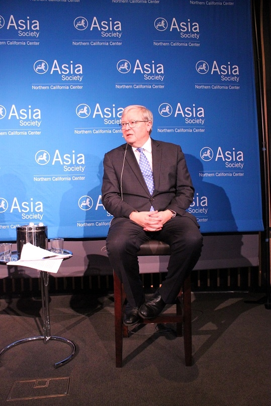 The Honorable Kevin Rudd addresses one of Wilcox's questions. (Asia Society)