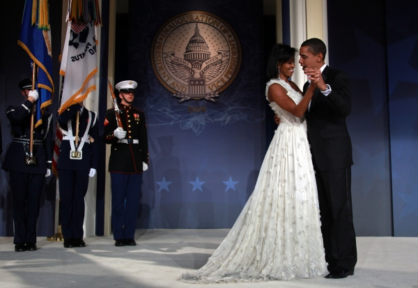 The First Lady in her 2009 inauguration gown, also designed by Wu, dances with her husband during the Youth Inaugural Ball in Washington, DC on January 20, 2009. (Mark Wilson/Getty Images)