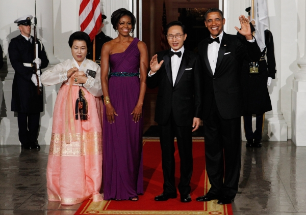 Wearing Korean-American designer Doo-Ri Chung to welcome South Korean president Lee Myung-bak and first lady Kim Yoon-ok to the state dinner on October 13, 2011. (Getty Images)