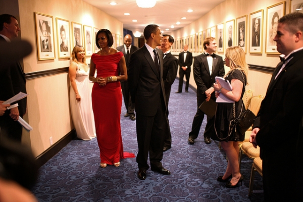 Wearing Prabal Gurung moments before taking the stage at the White House Correspondents' dinner, Saturday, May 1, 2010. (Lawrence Jackson/The White House/flickr)