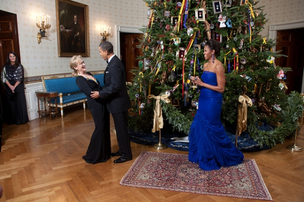 Wearing a gown by Vera Wang, American-born designer of Chinese descent, at the Kennedy Center Honors reception on December 4, 2011. (Lawrence Jackson/The White House/flickr)