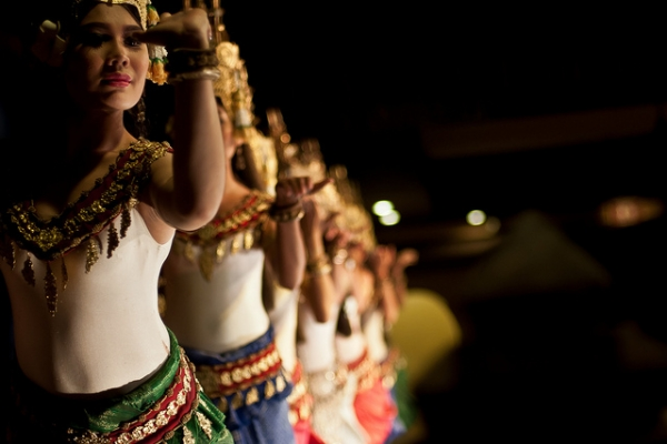 A classical dance troupe in Siem Reap, northwestern Cambodia performs the traditional dance of the apsaras on October 1, 2012 (h0lydevil/Flickr)