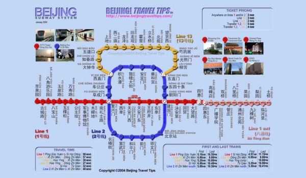 A map of the Beijing subway circa 2003 shows three working lines. (Beijing Travel Tips/The Subway Page)