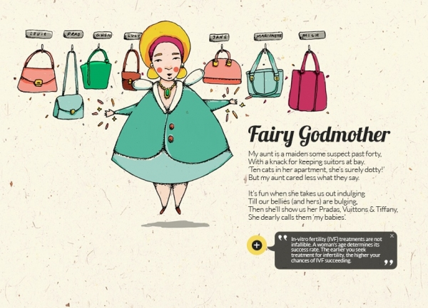 On this website, the Fairy Godmother is a cat lady who uses handbags to fill the void in her life left by not having children. (thesingaporeanfairytale.com)