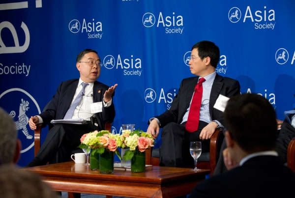 Asia Society Co-Chair Ronnie Chan (L) and Johnny Mok (R) at Asia Society New York on June 27, 2014. (Elena Olivo/Asia Society)