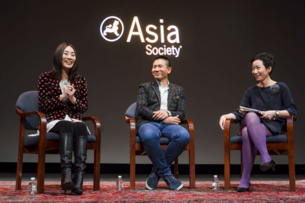 Wu Ke-Xi, Midi Z, and La Frances Hui at the opening of the film series Homecoming Myanmar: A Midi Z Retrospective on March 6, 2015. (C. Bay Milin)
